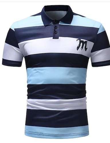 cheap Men's Clothing-Men's Golf Shirt Striped Short Sleeve golf shirts Tops Cotton Shirt Collar Blue Blushing Pink / Summer