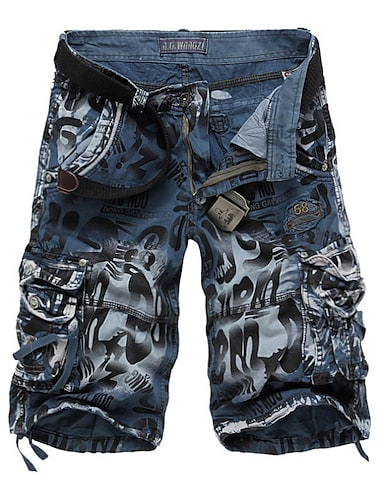 cheap Men's Bottoms-Men's Basic Military Daily Shorts Pants Camo / Camouflage Knee Length Blue Yellow Wine Army Green Dark Gray