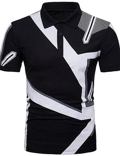 cheap Men's Clothing-Men's Golf Shirt Color Block Tops Shirt Collar White Black