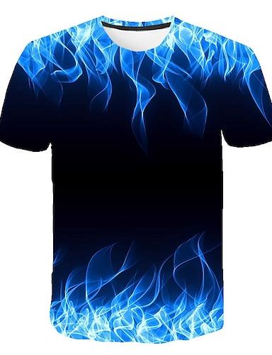 cheap Men's Clothing-Men's T shirt Shirt Graphic Flame Print Short Sleeve Casual Tops Basic Designer Big and Tall Round Neck Blue Purple Orange