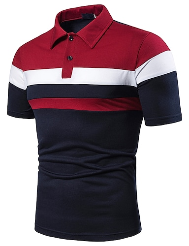 cheap Men's Polos-Men's Golf Shirt Simple Patchwork Short Sleeve Sports & Outdoor Tops Cotton Casual / Daily Casual / Sporty Shirt Collar Red Light gray Navy Blue