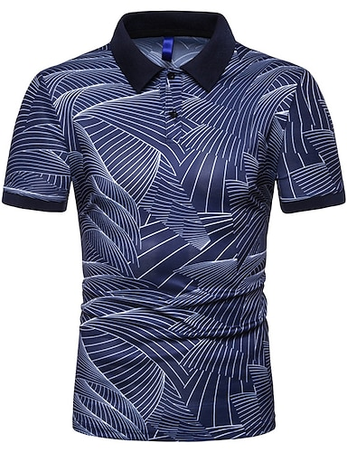 cheap Men's Clothing-Men's Polo Graphic Short Sleeve Street Slim Tops Cotton Shapewear Vacation Holiday Casual / Sporty Shirt Collar White Black Navy Blue