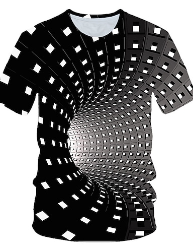 cheap Men's Clothing-Men's T shirt Shirt Graphic Geometric 3D Short Sleeve Daily Tops Basic Round Neck Rainbow