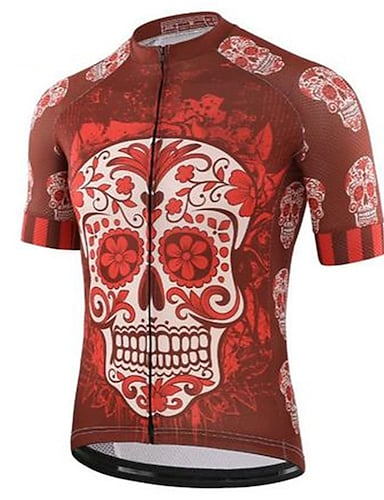 cheap Sports & Outdoors-21Grams Sugar Skull Skull Men's Short Sleeve Cycling Jersey - Red and White Bike Jersey Top Quick Dry Back Pocket Sweat wicking Sports Summer Terylene Mountain Bike MTB Road Bike Cycling Clothing