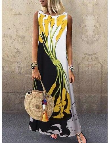 cheap Women's Clothing-Women's A Line Dress Maxi long Dress Yellow Sleeveless Floral Print Spring & Summer Round Neck Hot Casual vacation dresses 2021 S M L XL XXL 3XL 4XL 5XL / Plus Size