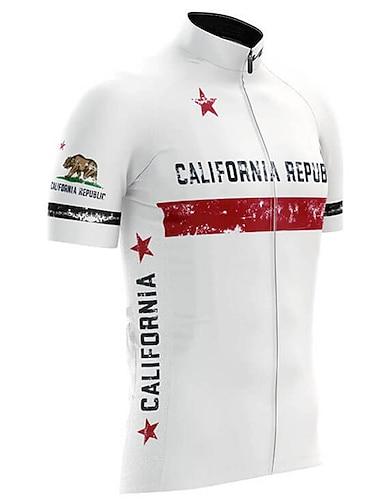 cheap Sports & Outdoors-21Grams California Republic National Flag Men's Short Sleeve Cycling Jersey - White Bike Top UV Resistant Quick Dry Moisture Wicking Sports Summer Terylene Mountain Bike MTB Road Bike Cycling