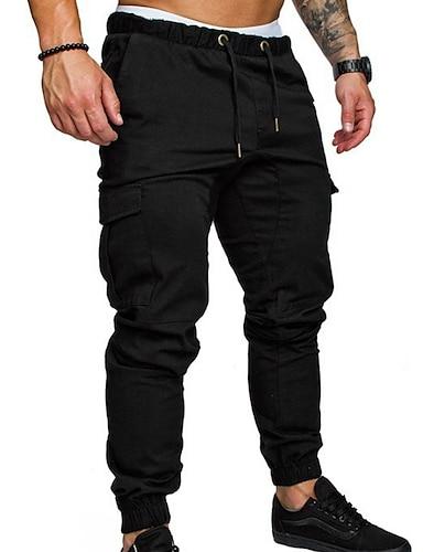 cheap Men's Clothing-Men's Joggers Basic Chinos Pants  Streetwear Sweatpants Solid Colored Full Length  Trousers Black Army Green Khaki Light gray Dark Gray