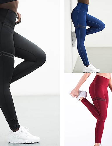 cheap Women's Bottoms-Women's High Waist Yoga Pants Leggings Tummy Control Butt Lift Quick Dry Stripes Black Red Blue Gym Workout Exercise & Fitness Running Sports Activewear High Elasticity Skinny