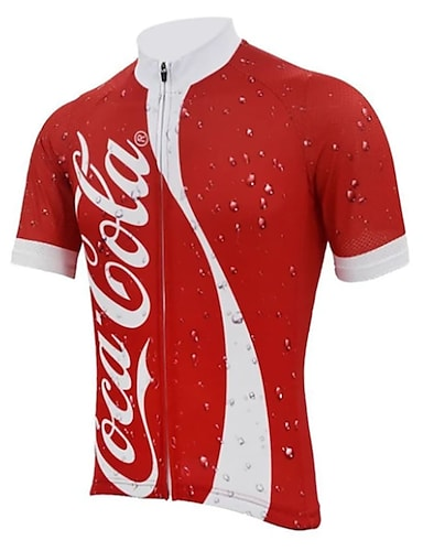 cheap Sports & Outdoors-21Grams Men's Short Sleeve Cycling Jersey Winter Spandex Polyester Red and White Patchwork Bike Jersey Top Mountain Bike MTB Road Bike Cycling UV Resistant Quick Dry Breathable Sports Clothing Apparel