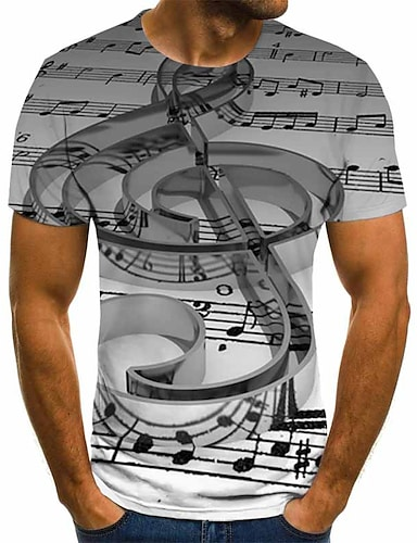 cheap Men's Clothing-Men's T shirt Graphic Geometric 3D Plus Size Pleated Print Short Sleeve Daily Tops Streetwear Exaggerated Round Neck Gray