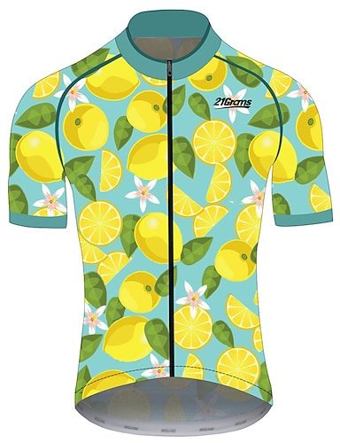cheap Sports & Outdoors-21Grams Men's Short Sleeve Cycling Jersey Summer Spandex Polyester Green / Yellow Lemon Fruit Bike Jersey Top Mountain Bike MTB Road Bike Cycling UV Resistant Quick Dry Breathable Sports Clothing