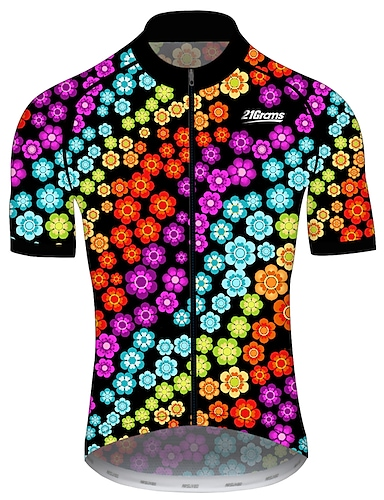 cheap Sports & Outdoors-21Grams Men's Short Sleeve Cycling Jersey Summer Spandex Polyester Black / Red Floral Botanical Bike Jersey Top Mountain Bike MTB Road Bike Cycling UV Resistant Quick Dry Breathable Sports Clothing