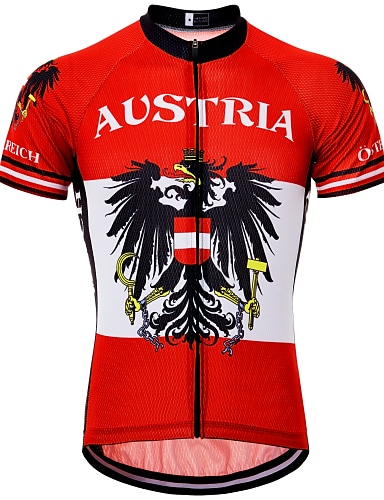 cheap Sports & Outdoors-21Grams Eagle Russia Austria Men's Short Sleeve Cycling Jersey - Red / White Bike Top UV Resistant Quick Dry Moisture Wicking Sports Summer Terylene Mountain Bike MTB Road Bike Cycling Clothing