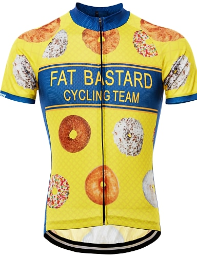 cheap Sports & Outdoors-21Grams Novelty Funny Men's Short Sleeve Cycling Jersey - Blue Yellow Black Bike Jersey Top Quick Dry Breathable Reflective Strips Sports Summer Terylene Mountain Bike MTB Road Bike Cycling Clothing