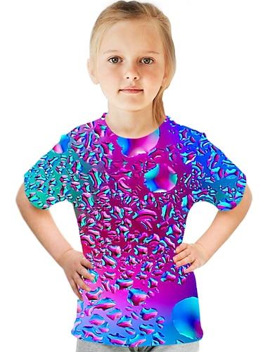 cheap Girls' Clothing-Kids Girls' T shirt Tee Short Sleeve Optical Illusion Color Block 3D Print Rainbow Children Tops Summer Basic Streetwear Sports