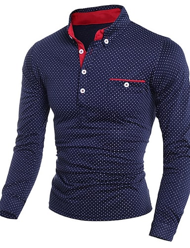 cheap Men's Polos-Men's Golf Shirt Polka Dot Print Long Sleeve golf shirts Slim Tops Shirt Collar White Black Navy Blue