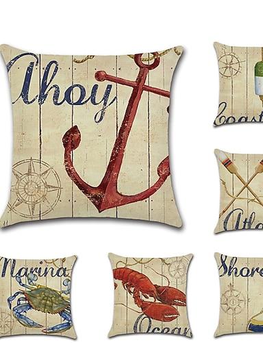 abordables Hogar y Jardín-juego de 6 fundas de almohada de lino, animal, náutico, mediterráneo, ocio, cuadrado, tradicional, clásico, cojín