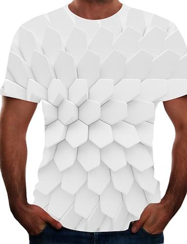 cheap Men's Clothing-Men's T shirt Shirt Color Block 3D Animal Plus Size Short Sleeve Going out Tops Basic Round Neck Rainbow