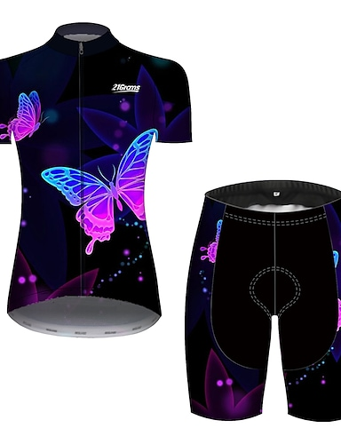 cheap Sports & Outdoors-Women's Short Sleeve Cycling Jersey with Shorts Summer Black / Red Blue Yellow Butterfly Gradient Solid Color Bike Clothing Suit 3D Pad Ultraviolet Resistant Quick Dry Breathable Reflective Strips