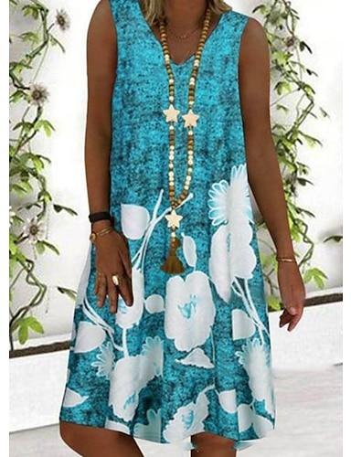 cheap Women's Clothing-Women's A Line Dress Short Mini Dress Blue Gray Sleeveless Floral Print Summer V Neck Hot Casual 2021 S M L XL XXL 3XL 4XL 5XL / Plus Size