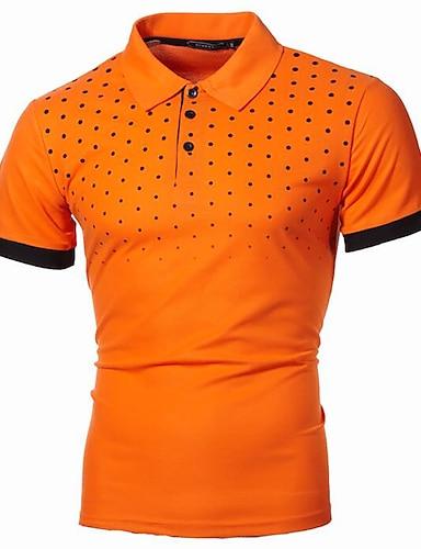 abordables Vêtements Homme-Homme Chemise de golf Pois Graphique Grandes Tailles Imprimé Manches Courtes Quotidien Hauts basique Chic de Rue Col de Chemise Blanche Bleu Vin / Travail
