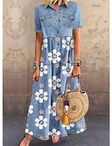 billige Kjoler-Dame Denim skjortekjole Maxikjole Blå Kortermet Blomstret Lomme Knapp Sommer Skjortekrage Elegant og moderne Fritid 2021 M L XL XXL 3XL