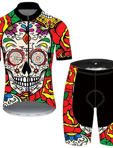 cheap Sports & Outdoors-21Grams Men's Short Sleeve Cycling Jersey with Shorts Summer Nylon Polyester Black / Red Sugar Skull Skull Floral Botanical Bike Clothing Suit 3D Pad Ultraviolet Resistant Quick Dry Breathable