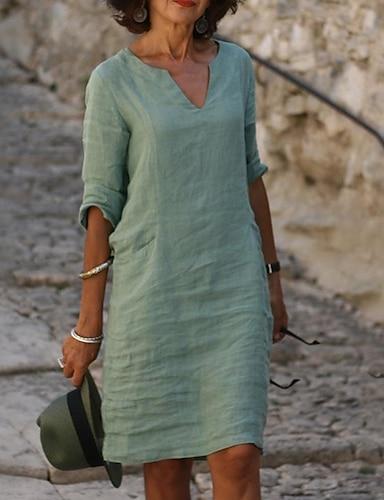 billige Dameklær-Dame Skiftkjole Knelang kjole Blå Gul Rosa Grønn Halvlange ermer Helfarge Sommer V-hals Fritid 2021 S M L XL XXL 3XL 4XL 5XL