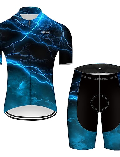 cheap Sports & Outdoors-21Grams Men's Short Sleeve Cycling Jersey with Shorts Summer Nylon Polyester Black / Blue Lightning Gradient 3D Bike Clothing Suit 3D Pad Ultraviolet Resistant Quick Dry Breathable Reflective Strips