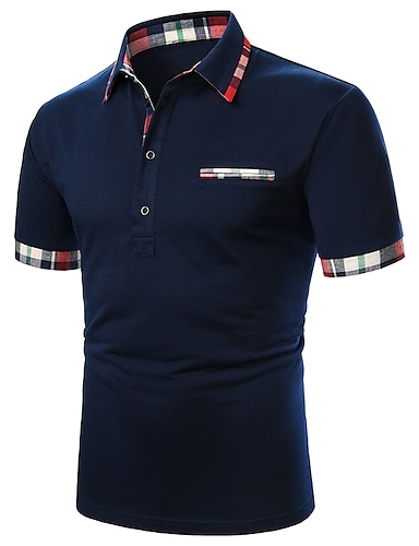 cheap Men's Polos-Men's Golf Shirt Solid Colored Patchwork Short Sleeve Daily Tops Cotton Basic Casual / Sporty Daily Navy Blue