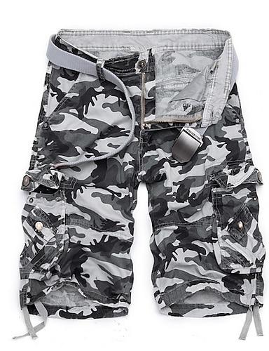 cheap Men's Bottoms-Men's Basic Daily Shorts Tactical Cargo Pants Solid Colored Knee Length Army Green Fuchsia Khaki Green Light gray