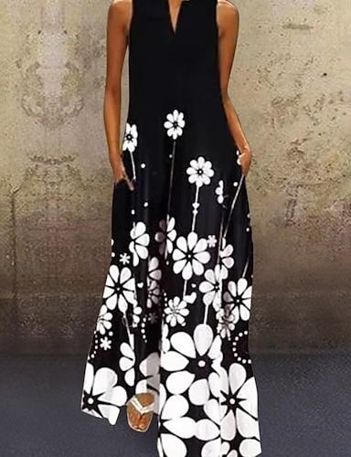 cheap Women's Clothing-Women's A Line Dress Maxi long Dress Black Sleeveless Floral Print Summer V Neck Chic & Modern Hot Casual Loose 2021 S M L XL XXL 3XL 4XL 5XL