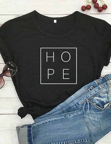 cheap Women's Clothing-Women's T shirt Graphic Text Graphic Prints Print Round Neck Basic Tops 100% Cotton White Black Purple
