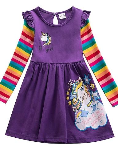 cheap Girls' Clothing-Kids Little Girls' Dress Dinosaur Casual Cartoon Long Sleeve Purple Dresses