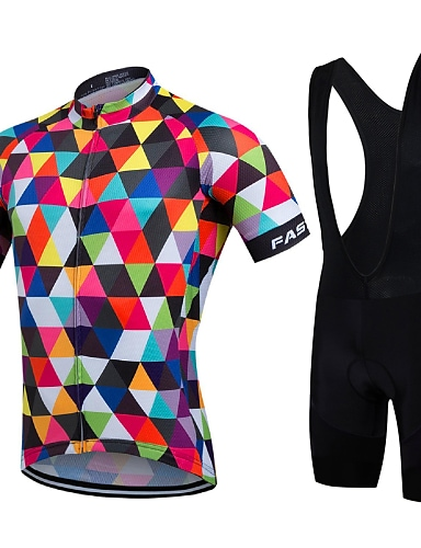 cheap Sports & Outdoors-21Grams Men's Short Sleeve Cycling Jersey with Bib Shorts Summer Coolmax® Lycra Multi color Rainbow Geometic Bike Jersey Bib Tights Clothing Suit Quick Dry Breathable Back Pocket Sports Rainbow Road