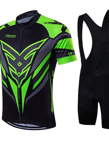 cheap Sports & Outdoors-21Grams Men's Short Sleeve Cycling Jersey with Bib Shorts Summer Coolmax® Lycra Green / Black Yellow Red Bike Clothing Suit Quick Dry Breathable Back Pocket Sweat wicking Sports Patterned Mountain