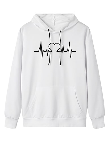 cheap Women's Clothing-Women's Hoodie Pullover Graphic Daily Weekend Basic Casual Hoodies Sweatshirts  White Blue Yellow