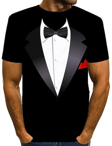 abordables Ropa de Hombre-Hombre Camiseta Impresión 3D Gráfico Estampado Manga Corta Diario Tops Básico Exagerado Negro Azul Piscina Rojo