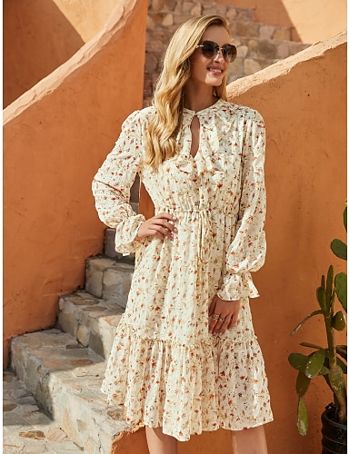 cheap Women's Clothing-Women's A Line Dress Knee Length Dress Beige Long Sleeve Floral Fall Winter Round Neck Elegant Casual Flare Cuff Sleeve 2021 S M L XL