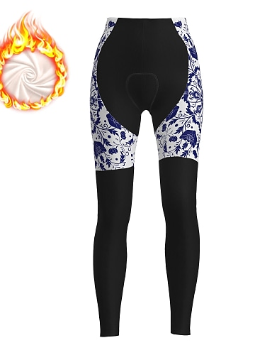 cheap Sports & Outdoors-21Grams Women's Cycling Tights Cycling Pants Winter Fleece Bike Tights Padded Shorts / Chamois Pants Fleece Lining Breathable Warm Sports Floral Botanical Christmas Black Mountain Bike MTB Road Bike