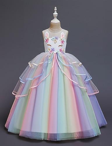 abordables Ropa de Niña-vestido de las niñas pequeñas fiesta de disfraces princesa unicornio arco iris flor bloque de color vestido de tul cumpleaños en capas con volantes blanco sonrojado rosa maxi sin mangas princesa