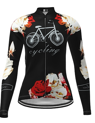 cheap Sports & Outdoors-21Grams Women's Long Sleeve Cycling Jersey Winter Elastane Blue Red Yellow Floral Botanical Bike Top Mountain Bike MTB Road Bike Cycling Ultraviolet Resistant Quick Dry Breathable Sports Clothing