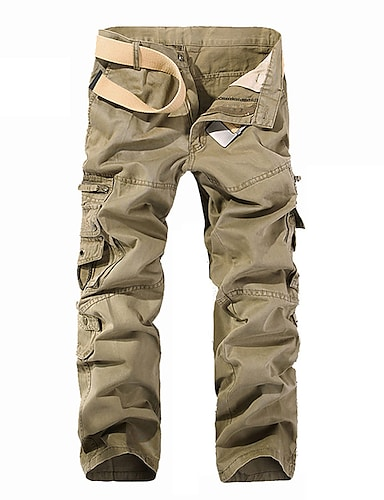 cheap Men's Clothing-Men's Active Basic Outdoor Cargo Dailywear Daily Sports Chinos Tactical Cargo Fit Pants Solid Colored Full Length Multi Pocket Black Army Green Khaki