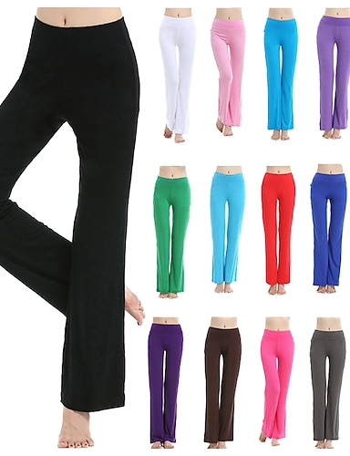 cheap Women's Bottoms-Women's High Waist Yoga Pants Bootcut Flare Leg 4 Way Stretch Breathable Quick Dry Deep Purple Lake blue Pink Modal Zumba Fitness Gym Workout Sports Activewear High Elasticity Loose