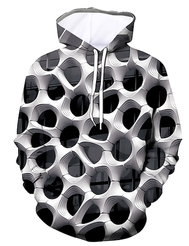 cheap Men's Clothing-Men's Pullover Hoodie Sweatshirt Graphic Daily Going out 3D Print Casual Hoodies Sweatshirts  White Black Blue