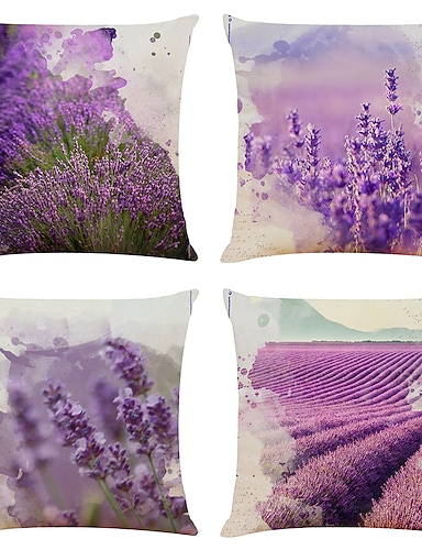cheap Home & Garden-Cushion Cover 4PC Linen Soft Decorative Square Throw Pillow Cover Cushion Case Pillowcase for Sofa Bedroom 45 x 45 cm (18 x 18 Inch) Superior Quality Mashine Washable