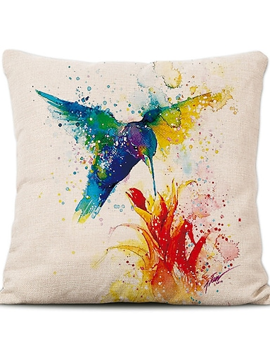 cheap Home & Garden-Cushion Cover 1PC Linen Soft Decorative Square Throw Pillow Cover Cushion Case Pillowcase for Sofa Bedroom Superior Quality Mashine Washable Birds Pattern