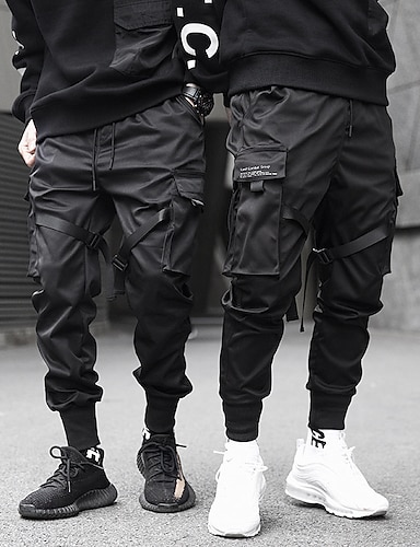 cheap Basic Shorts & Pants-mens joggers pants long multi-pockets outdoor fashion casual relaxed fit streetwear with drawstring cargo pants
