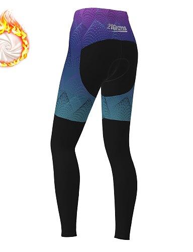 cheap Sports & Outdoors-21Grams Women's Cycling Tights Cycling Pants Winter Fleece Bike Tights Padded Shorts / Chamois Pants Thermal Warm Fleece Lining Breathable Sports Black / Blue Mountain Bike MTB Road Bike Cycling