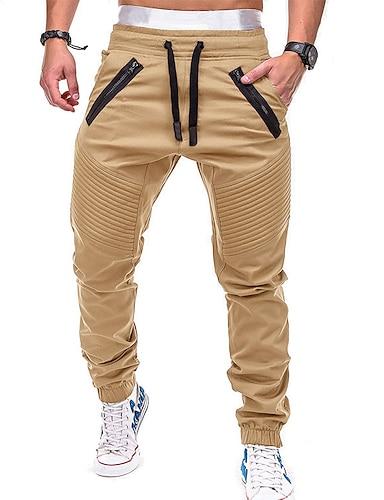 cheap Basic Shorts & Pants-Men's Active / Basic Chinos wfh Sweatpants - Solid Colored Gray Army Green Khaki XL XXL XXXL